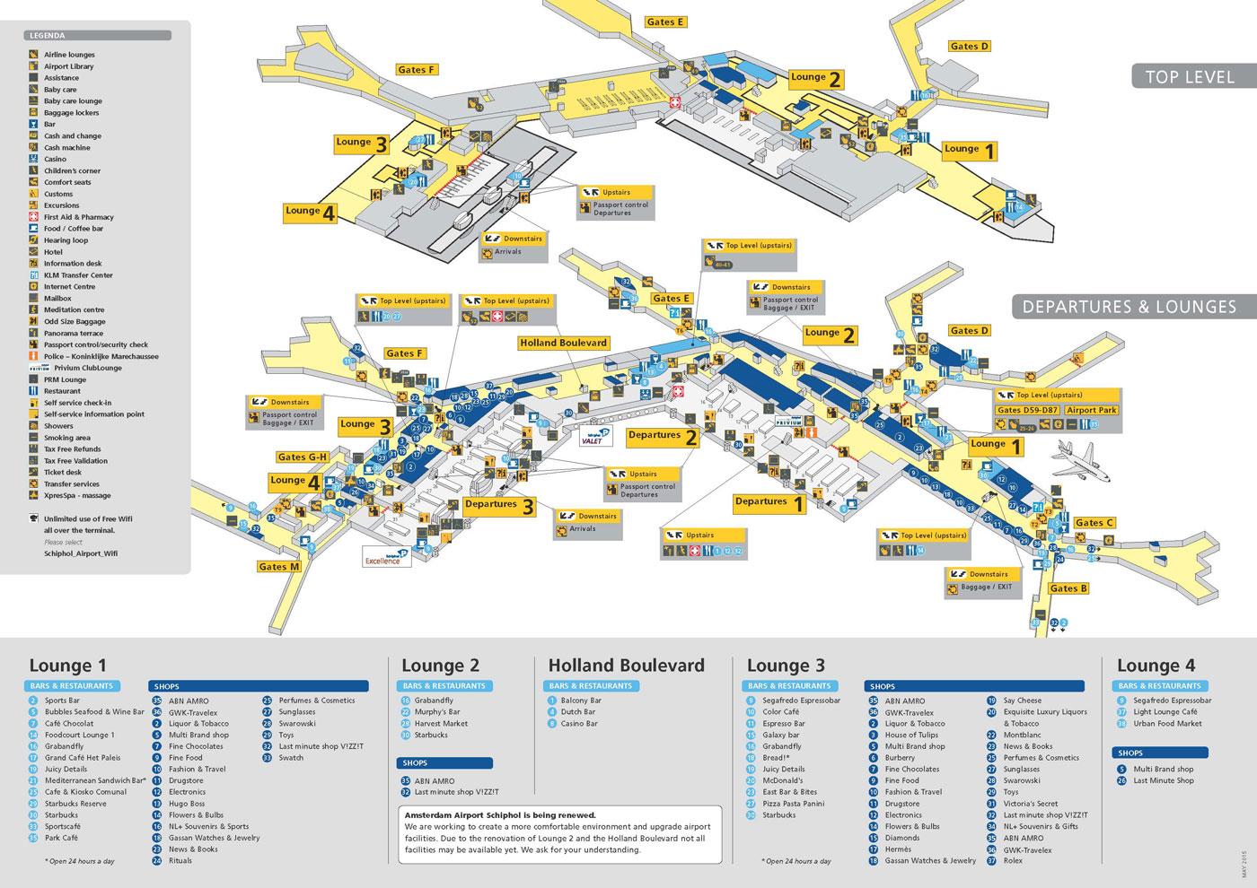 Taxi Arnhem Schiphol - Plattegrond Schiphol vertrekhal
